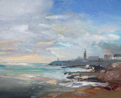 British Artist David ATKINS - Breezy Day Portland Bill