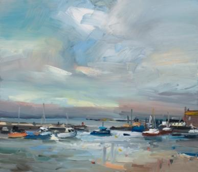 David ATKINS - Boats in Harbour, Lyme Regis