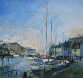 British Artist David ATKINS - Weymouth Harbour, Autumn