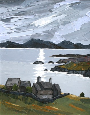 Moon over Llyn painting by artist David BARNES
