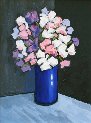 David BARNES - Sweet Peas in Blue Vase