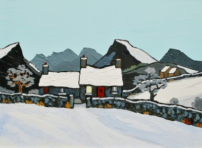 British Artist David BARNES - Cottage in the Rhiniogs