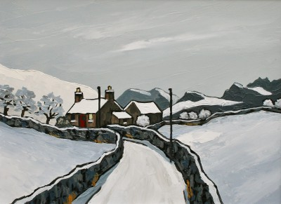 British Artist David BARNES - The Denbighshire Moors in Winter