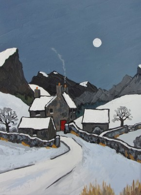 British Artist David BARNES - Carneddau Winter