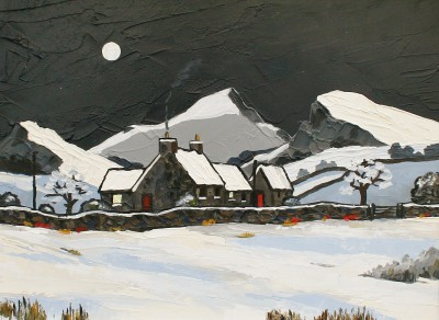 British Artist David BARNES - Hill Farm in Winter