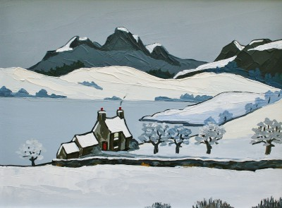 British Artist David BARNES - Snowdonian Hills in Winter