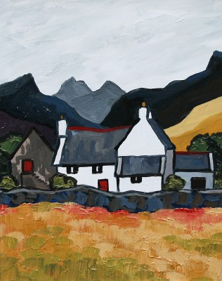 British Artist David BARNES - Cottage in the Carneddau