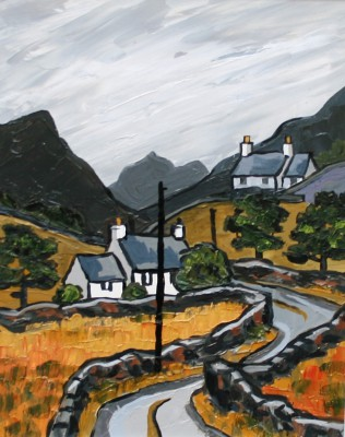 British Artist David BARNES - The Nant Ffrancon Pass