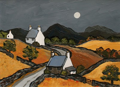 British Artist David BARNES - Cottages near Prion