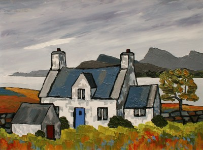 British Artist David BARNES - Cottage on Loch Broom
