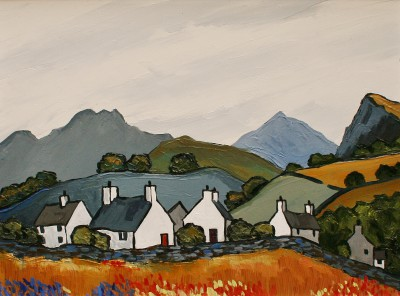 British Artist David BARNES - Cottages above the Conwy Valley