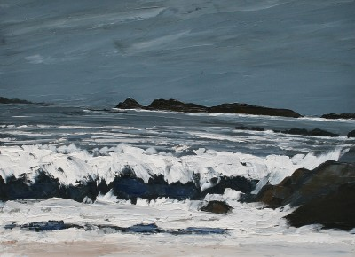 British Artist David BARNES - Crashing Waves near Llanddwyn