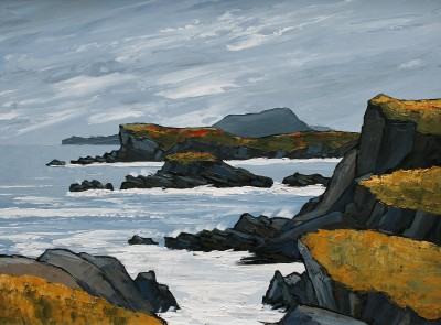 British Artist David BARNES - Rocks near Rhoscolyn