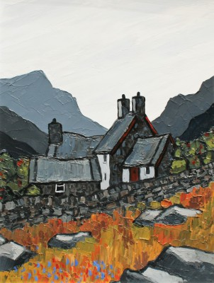 British Artist David BARNES - Hill Farm near Hebog