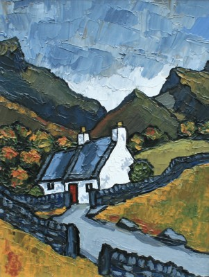 British Artist David BARNES - Moelwyns Cottage