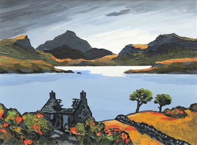 British Artist David BARNES - The Old Scottish Croft