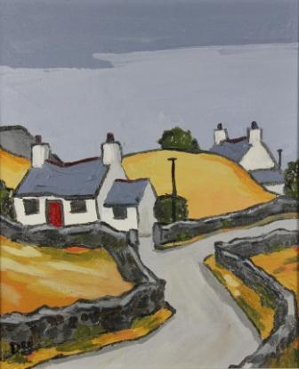 David BARNES - Cottage and Yellow Field