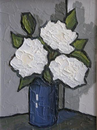 David BARNES - White Roses and a Blue Vase