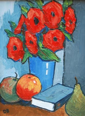 David BARNES - Poppies, Book and Fruit