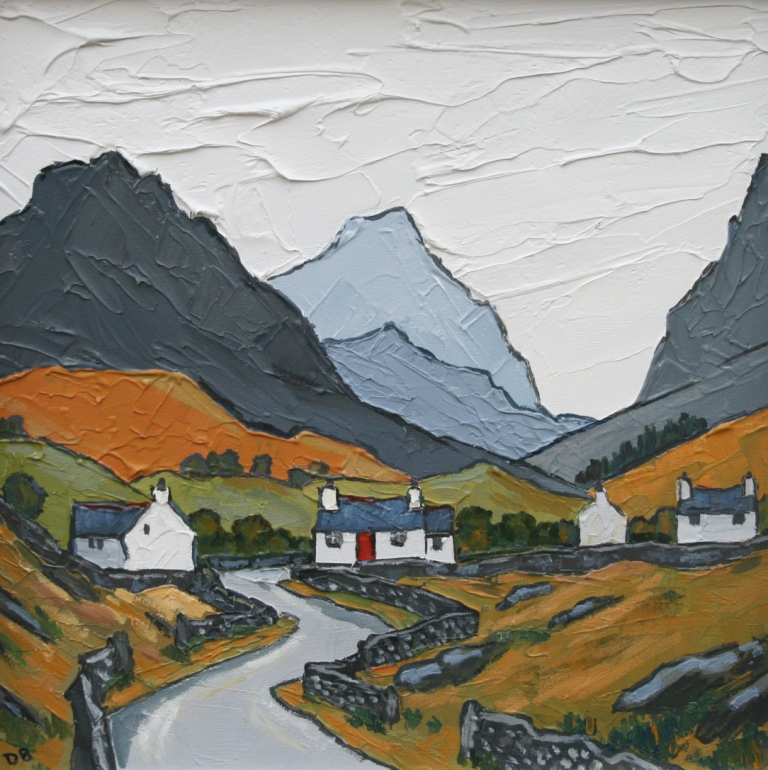 David BARNES - Cottages and Distant Mountain