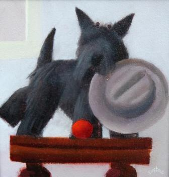 British Artist David EUSTACE - Still Life with a Terrier