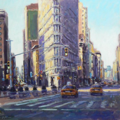 British Artist David FARREN - Morning Sun, Flatiron Building, New York