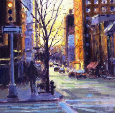 British Artist David FARREN - Sunrise from Murray Hill, Manhattan