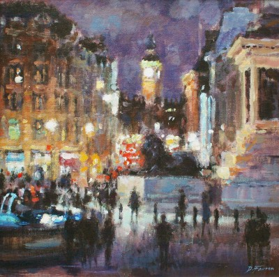 British Artist David FARREN - Nightfall, Trafalgar Square