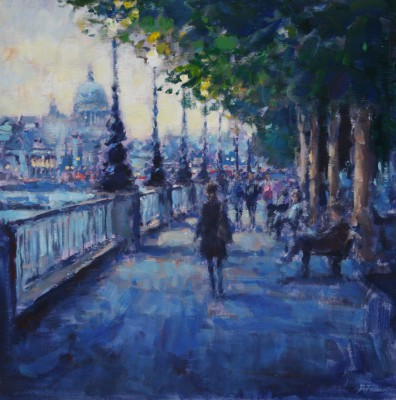British Artist David FARREN - Evening Stroll, Southbank