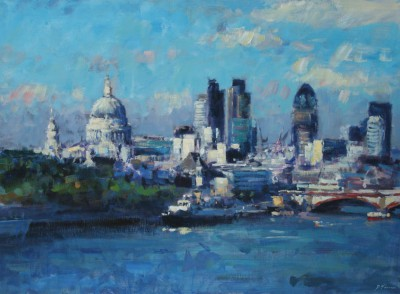 British Artist David FARREN - Summer Light across the Thames