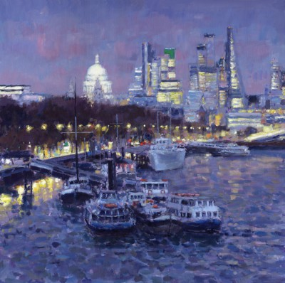 British Artist David FARREN - River Thames at Dusk