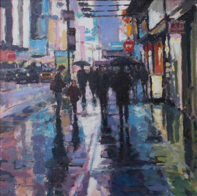 British Artist David FARREN - Sudden Downpour, Times Square