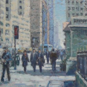 Lunch Hour, East 42nd Street, New York painting by artist David FARREN