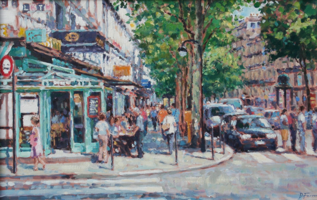 Street corner cafe paris by british contemporary artist david farren - The house on the corner contemporary paris ...
