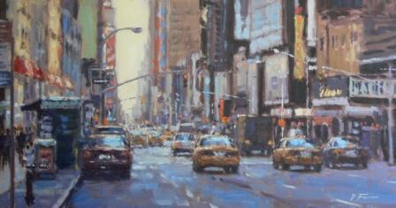 David FARREN - Yellow Cabs on Broadway, Late Afternoon