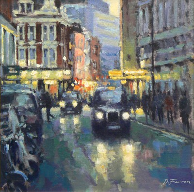 British Artist David FARREN - Evening Taxis, Soho