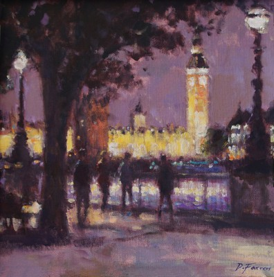 Saturday Evening Stroll, Southbank painting by artist David FARREN