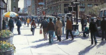 David FARREN - Spring Sunlight, Seventh Avenue, New York