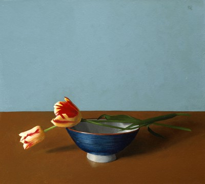British Artist David GLEESON - Tulips and Bowl
