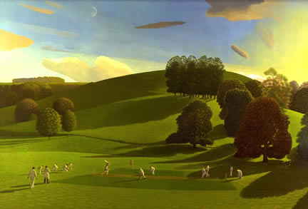 British Artist David Inshaw - Cricket Game I