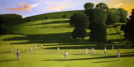 British Artist David Inshaw - Cricket Match III