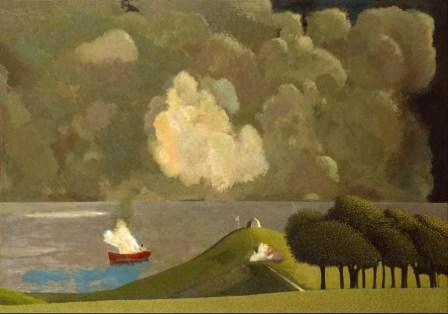 British Artist David Inshaw - Dramatic Event off the Dorset Coast