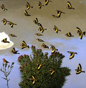 British Artist David Inshaw - Goldfinches