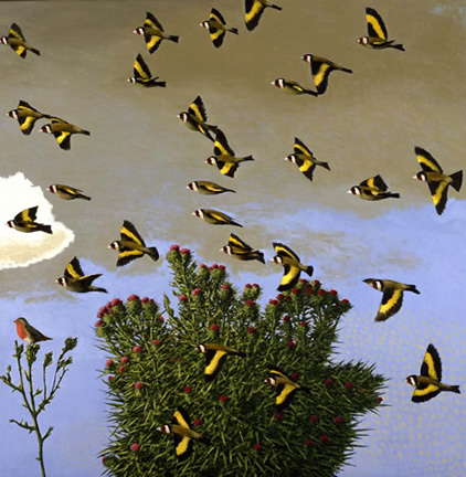 David Inshaw - Goldfinches