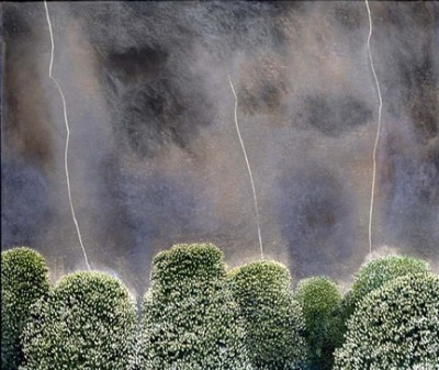 Limited Edition Prints Artist David Inshaw - Lightning and Chestnut Tree