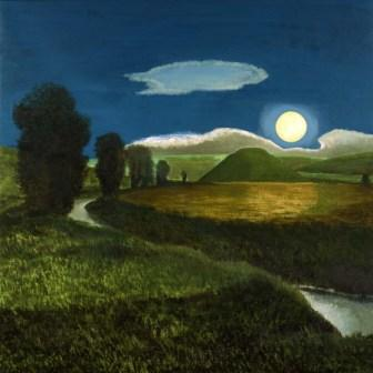 British Artist David Inshaw - Silbury Hill in the Moonlight