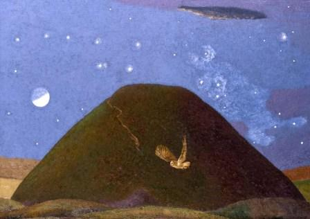 Limited Edition Prints Artist David Inshaw - Silbury Hill on a Starry Night