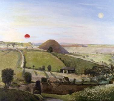 Limited Edition Prints Artist David Inshaw - Wiltshire Landscape, Silbury Hill