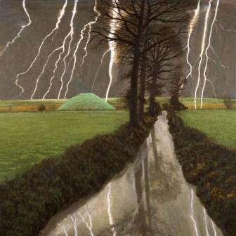British Artist David Inshaw - Storm Over Silbury Hill