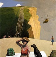 David Inshaw - West Bay with Helicopter